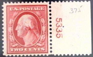 Scott 375 - VF - 2c Washington - Carmine - MNH - P# Single - 1910