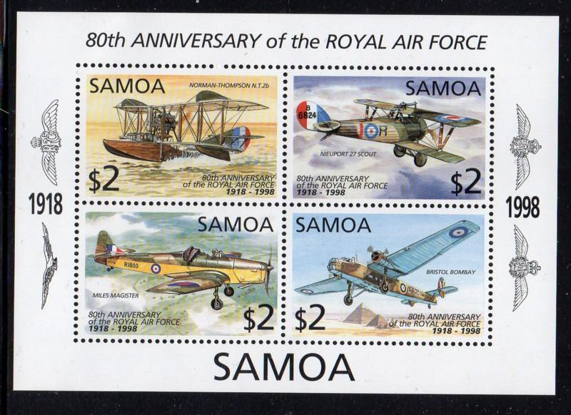 Samoa Sc 961 1998 80th Anniversary RAF stamp sheet mint NH