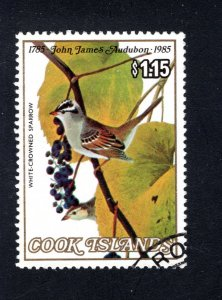 Cook Islands, Scott 854,   VF, Used, White-Crowned Sparrow,    ...... 1500182