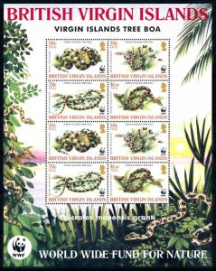 [78654] British Virgin Islands 2005 Reptiles Snakes WWF Full Sheet MNH