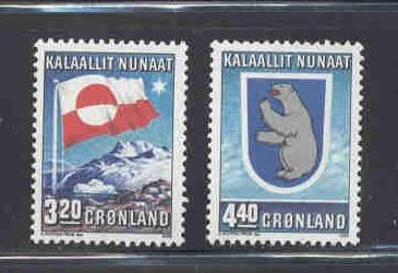 Greenland Sc 200-1 1989 10th Anniv Home Rule stamp mint NH