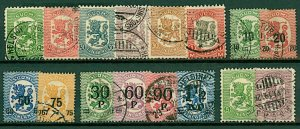 Finland 1918/21 range of Lion definitives in new design and surcharge  FU Stamps