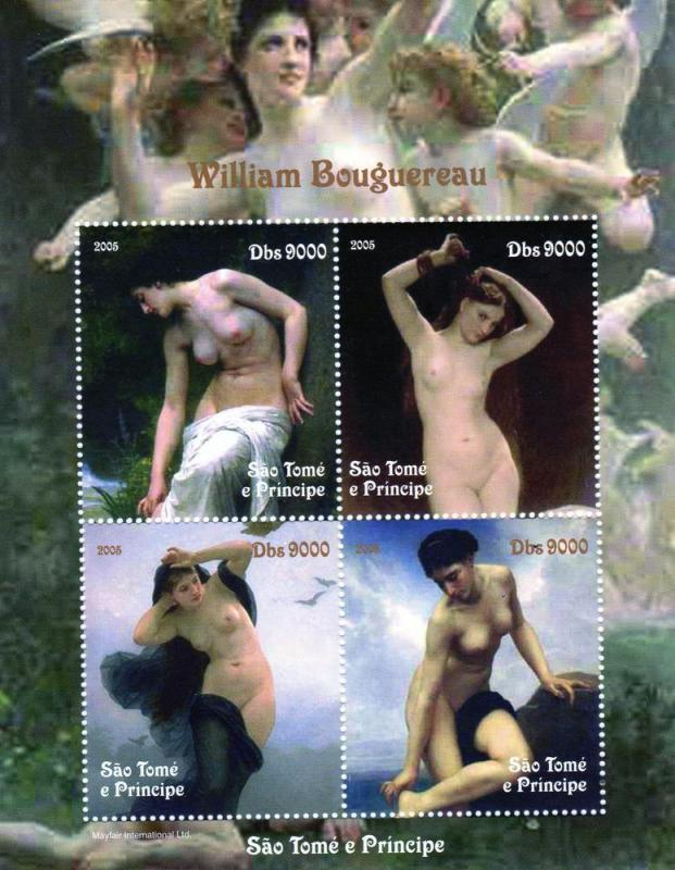 Sao Tome and Principe  2005 William Bouguereau  Famous Nudes Sheetlet Perforated