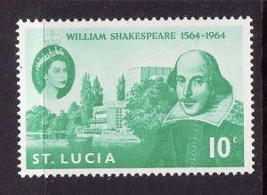 St Lucia-Sc#196-unused hinged Omnibus set-QEII-Shakespeare-id2-1964-