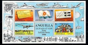 ANGUILLA - 1980 - SEPARATION FROM ST KITTS-NEVIS - FLAG ++-MINT MNH - S/SHEET!