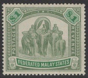 MALAYA FMS SG48a 1907 $1 GREEN & PALE GREEN MTD MINT
