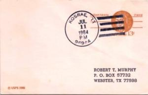 Caroline Islands 13c Morris Postal Card 1984 Kosrae, TT, 96944 Postal Card to...