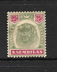 NEGRI  SEMBILAN  1895  25c  TIGER        MH   SG 13