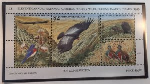 U.S. Audubon Society Wildlife Stamp Sheet 1995 California Condor - MNH