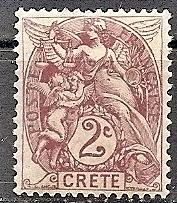 France-Off.Crete  2 1902 MH 2c Liberty,Equality & Fraternity