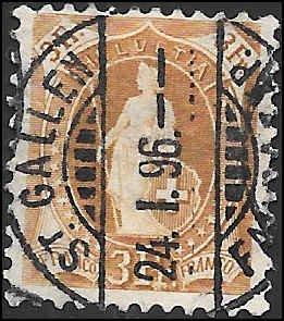 1891 SWITZERLAND  SC# 88 USED F-VF  CV $21.00
