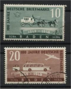 GERMANY, FRENCH ZONE, BADEN,  100th STAMP ANNIVERSARY FU