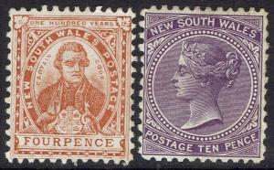 NEW SOUTH WALES 1905 COOK 4D AND QV 10D WMK CROWN/ SINGLE- LINED A