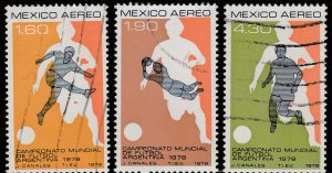 MEXICO C565-C567 World Soccer Cup Championship USED. VF. (817)