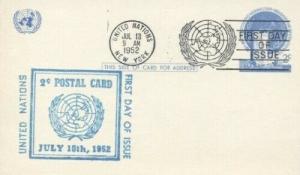 UN UX1 2c POSTAL CARD FDC - Unknown