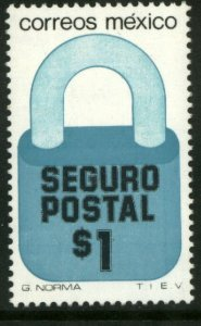 MEXICO G30, $1P Padlock Insured Letter Wmkd Fosfo Paper 2. MINT, NH. F-VF.