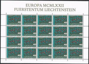 Liechtenstein 504 sheet,MNH.Michel 564 bogen. EUROPE CEPT-1972,Sparkles.