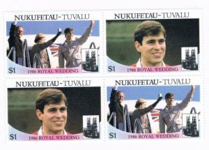 Tuvalu Nukufetau 59a-b Pair MNH Blk 4 Royal Wedding 1986 (T0023)