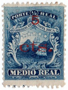 (I.B) Costa Rica Postal : Medio Real 5c on ½c OP