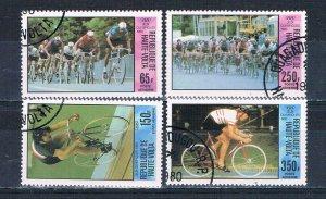 Burkina Faso C258-61 Used set Bicyclists 1980 (MV0218)+