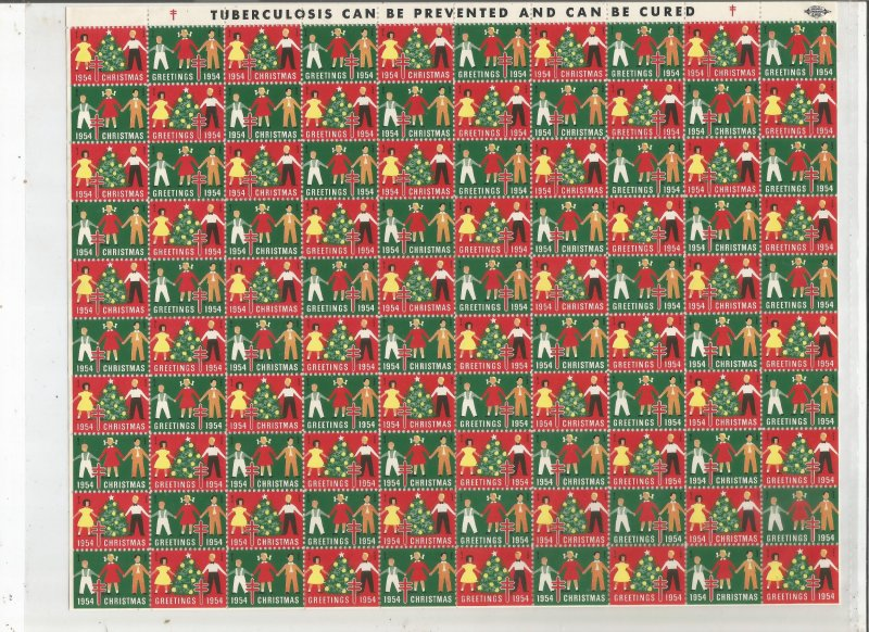 1954 CHRISTMAS SEALS, FULL SHEET