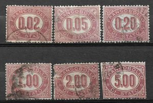COLLECTION LOT OF #628 ITALY 6 OFFICIAL STAMPS 1875 CV+$316 (#O6-7 DAMAGED)