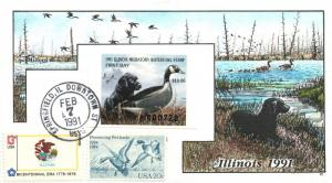 1991 Springfield Illinois USA Duck Stamp Milford Hand Painted First Day Cover