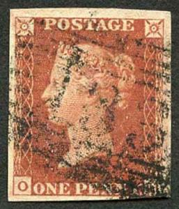 1841 Penny Red (OH) Used (Nice Colour) with Four Margins