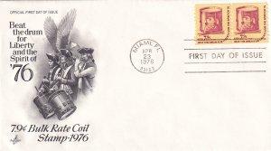 1976, 7.9c Bulk Rate Coil Stamp, Art Craft, FDC (E12289)