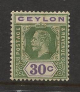 Ceylon -Scott 239 - KGV -Definitive- 1921- MLH - Single 30c Stamp