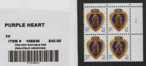 2008 Purple Heart 42c WAG Sc 4263 plate block MNH CV $35