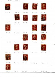GREAT BRITAIN, QUEEN VICTORIA - Penny Reds - 72 Different PlatesUsed Perf Stamps