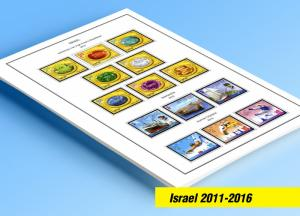 COLOR PRINTED ISRAEL 2011-2016 STAMP ALBUM  PAGES (39 illustrated pages)