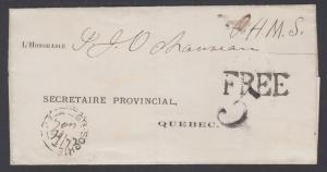 Canada, 1872 O.H.M.S. Stampless Cover, FREE handstamp to Quebec