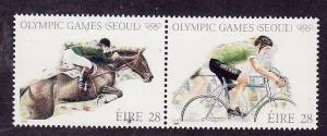 Ireland-Sc#713a-unused NH pair-Sports-Summer Olympics-Seoul-Horses-1988-