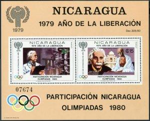 Nicaragua Michel Bl.113,MNH. Olympics Lake Placid,Moscow-1980.Einstein,Gandhi.