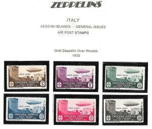 1933, AEGEAN ISLANDS, ZEPPELIN, #C20-C25* hinged, complete Set,