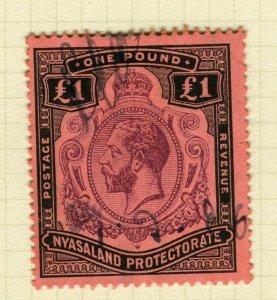 NYASALAND; 1913 early GV issue fine used £1. value