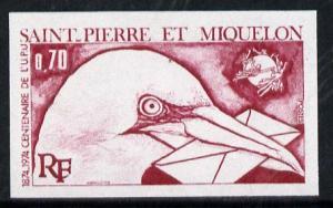 St Pierre & Miquelon 1974 UPU 70c (Gannet with Letter...