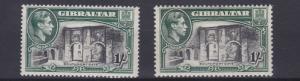GIBRALTAR   1938 - 51      S G  127 + 127B  2 X 1/-   VALUES    MH