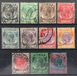 Malaya Straits Settlements 1936-37 KGV 2c-$1 11V used wmk MSCA M1634