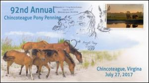 17-275, 2017, Chincoteague Wild Pony Penning,  Event Cover, Pictorial Cancel,