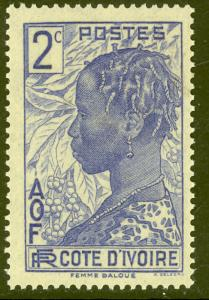 IVORY COAST 1936-44 2c BAOULE WOMAN Pictorial Sc 113 MH