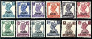 HERRICKSTAMP INDIA-CHAMBA Sc.# 89-100 KG VI Overprints Scott $200.00