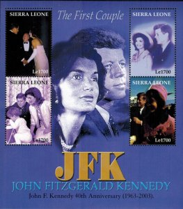 Sierra Leone MNH S/S The Kennedy's The 1st Couple