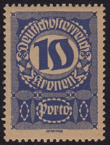 Austria - 1921 - Scott #J91a - mint - Numeral - thick grayish paper