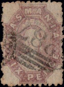 TASMANIA - 1891 SG143 6d dull claret p.12 - barred numeral 287 MOUNT ZEEHAN