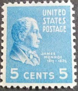 U.S.#810 James Monroe 5c Single, MNH. 'F-VF'