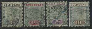 Gold Coast QV 1898-1900 1/ to 10/ used