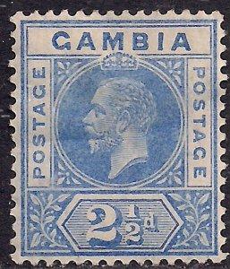 Gambia 1912 - 22 KGV 2 1/2d Bright Blue MM SG 90a ( D1079 )